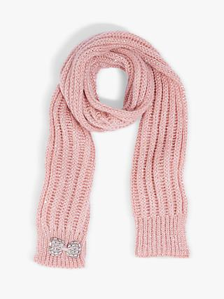 Oasis Bow Sparkle Scarf, Pale Pink