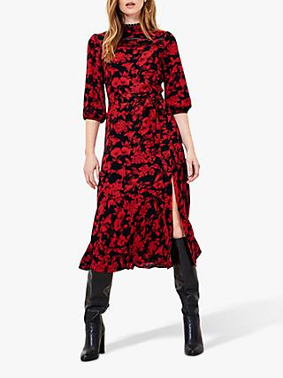 Oasis Scarlet Statement Floral Midi Dress, Red/Multi