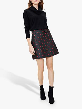 Oasis Heart Jacquard Mini Skirt, Black