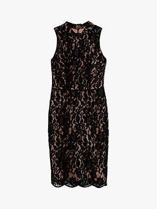 Warehouse Flocked Velvet Lace Dress, Black