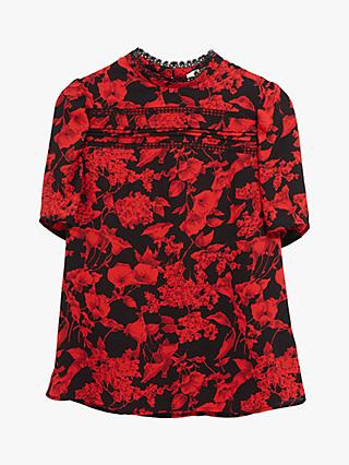 Oasis Floral Pintuck Top, Multi