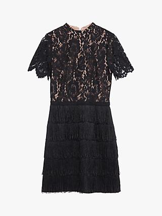 Oasis Lace Fringe Dress, Black