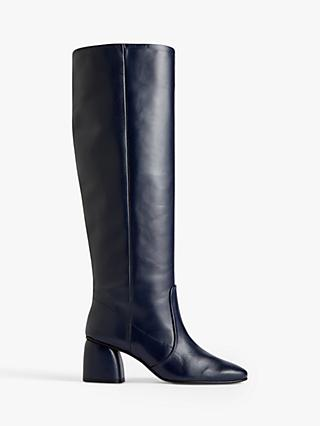Jigsaw Daphine Leather Knee High Boots, Navy