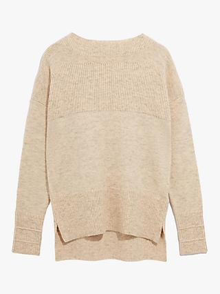 Oasis Ribbed Boat Neck Jumper, Light Neutral