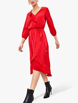 Oasis Satin Frill Wrap Midi Dress, Bright Pink