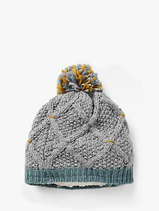 White Stuff Cara Chunky Cable Knit Hat, Grey/Multi
