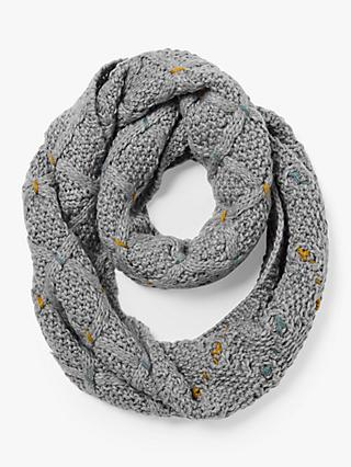 White Stuff Cara Chunky Cable Knit Snood, Grey/Multi