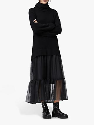 AllSaints Tula Wool Blend Roll Neck Jumper Dress, Black