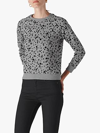 Whistles Star Flocked Sweatshirt, Grey
