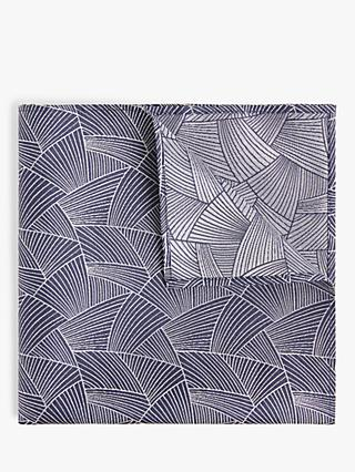 John Lewis & Partners Geo Silk Pocket Square, Blue
