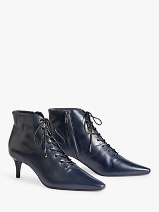 Jigsaw Winnie Leather Pointed Boots, Dark Navy
