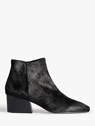 Jigsaw Dapper Cow Hair Block Heel Ankle Boots, Black