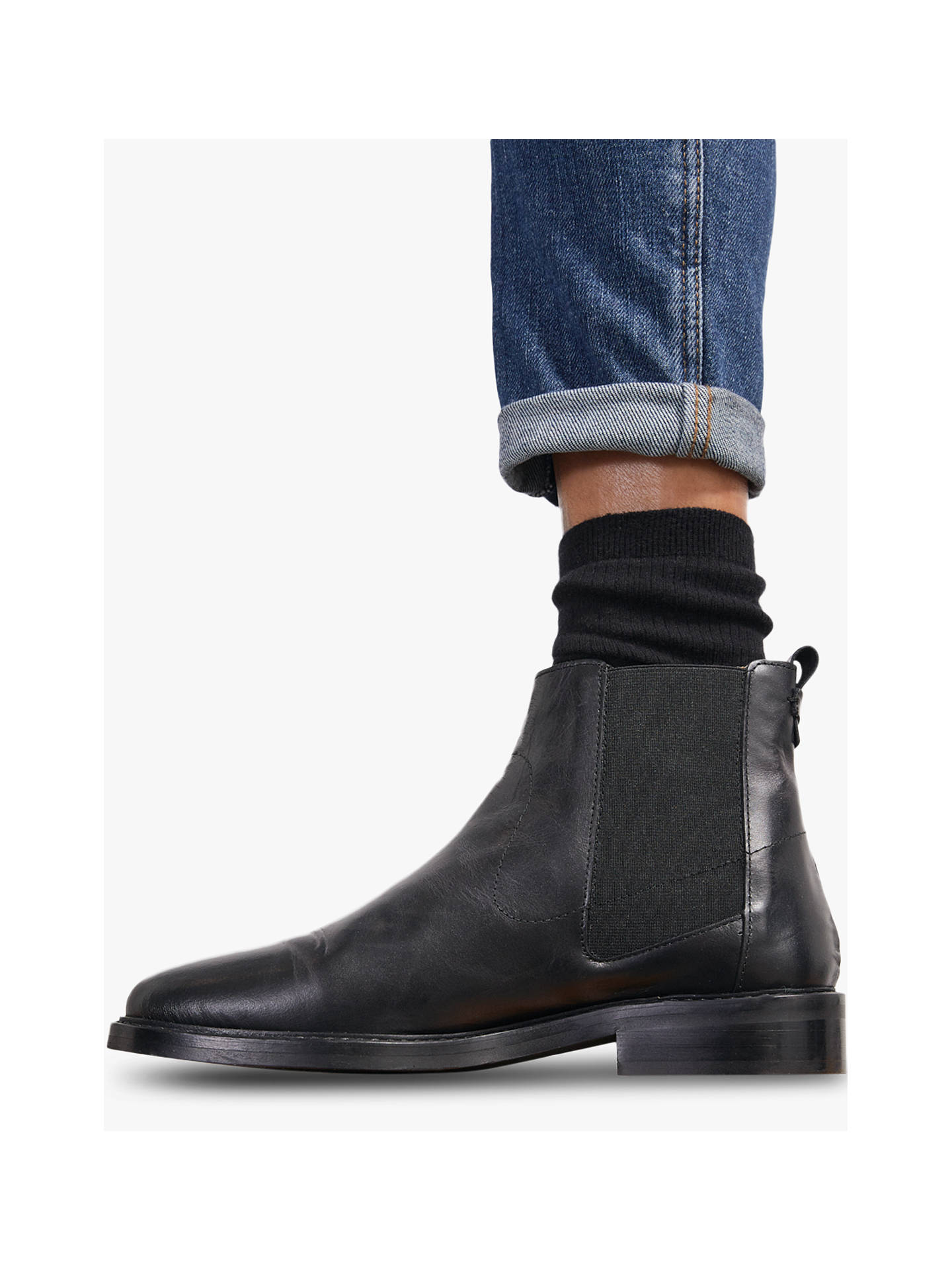 Buy Jigsaw Ardell Leather Chelsea Boots, Black, 3 Online at johnlewis.com