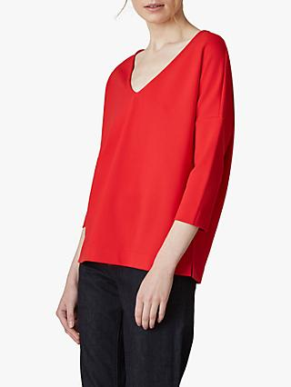 Jaeger V-Neck Batwing Cotton Top, Red