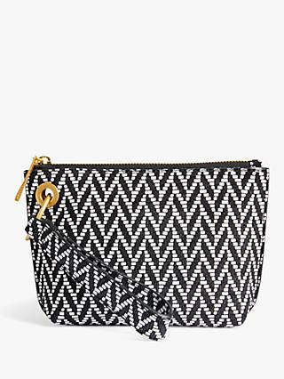 Jigsaw Kenny Leather Clutch Bag, Monochrome