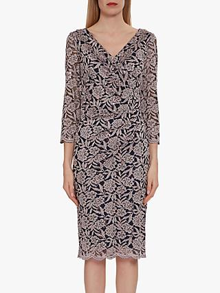 Gina Bacconi Olena Sequin Lace Dress, Navy/Pink