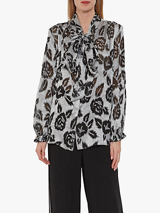Gina Bacconi Latonia Burnout Blouse, Black/Silver