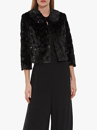 Gina Bacconi Ketina Faux Fur Sequin Jacket, Black