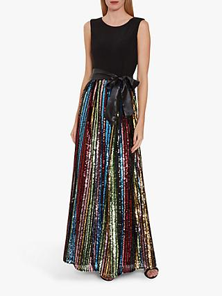 Gina Bacconi Aga Sequin Embellished Maxi Dress, Black/Multi
