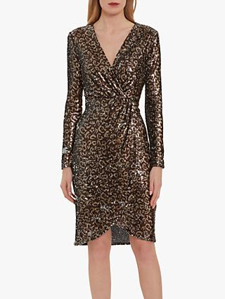 Gina Bacconi Clarice Sequin Leopard Print Wrap Dress, Brown/Gold