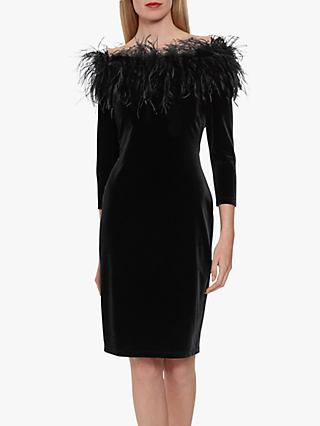 Gina Bacconi Dania Feather Trim Dress, Black
