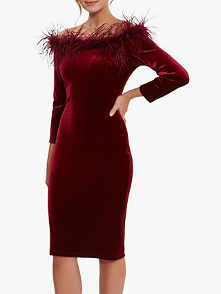 Gina Bacconi Dania Feather Trim Dress, Wine