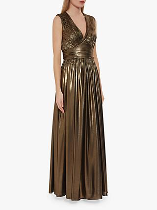 Gina Bacconi Treva Metallic Chiffon Maxi Dress, Gold