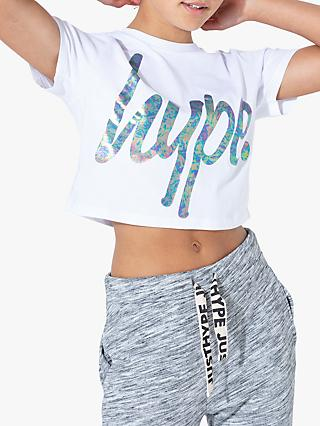 Hype Girls' Cropped Iridescent T-Shirt, White