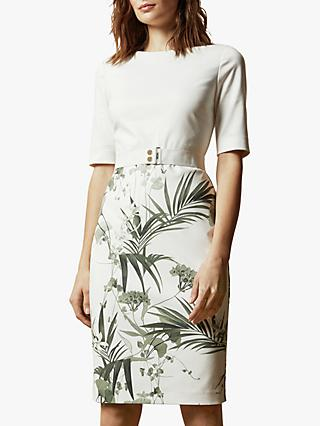 Ted Baker Tyyraa Floral Pencil Dress, Cream
