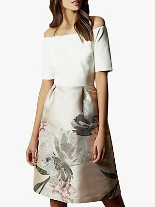 Ted Baker Cathiey Woodland Off The Shoulder Dress, Pale Pink