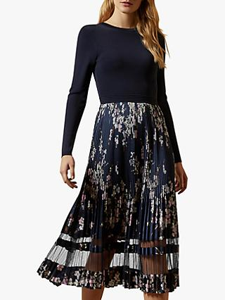Ted Baker Cllover Dark Pergola Pleated Dress, Navy