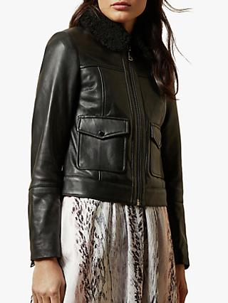 Ted Baker Dasiiy Shearling Collar Leather Jacket, Black
