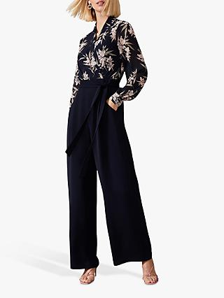 Phase Eight Gracen Palm Print Jumpsuit, Navy/Multi