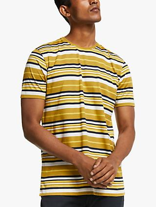 John Lewis & Partners Cotton Vintage Stripe T-Shirt, Yellow