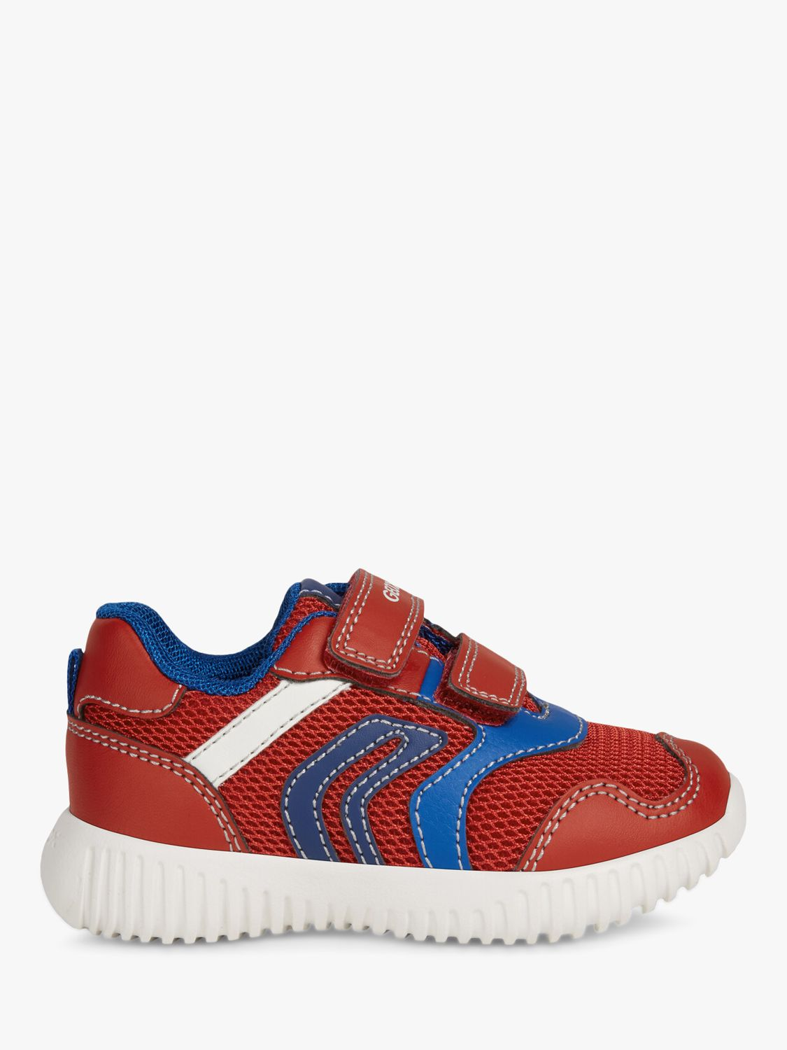 Geox Geox Children's Waviness Riptape Trainers, Red/Navy
