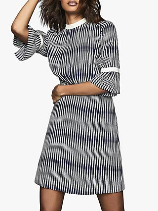 Reiss Nika Zig Zag Print Back Tie Dress, Navy/White