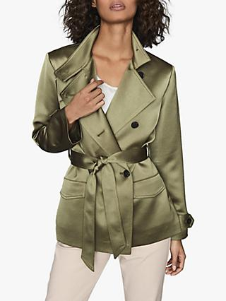 Reiss India Satin Jacket, Khaki