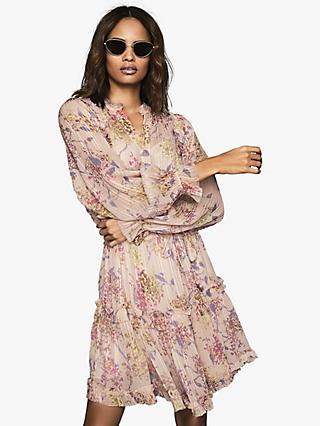 Reiss Cari Floral Print Ruffle Dress, Blush/Multi