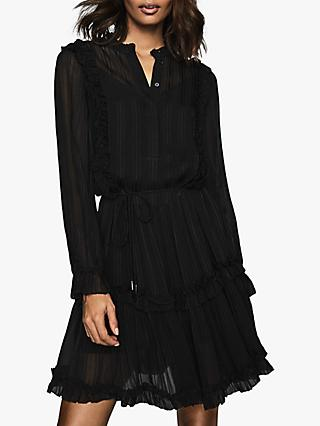 Reiss Justina Semi Sheer Ruffle Mini Dress, Black