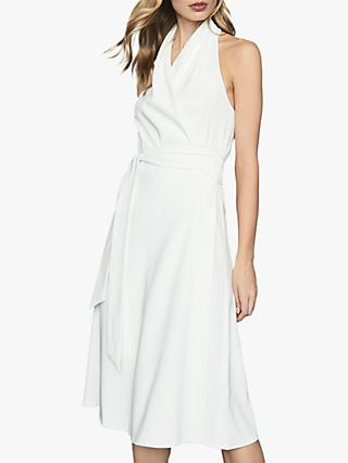 Reiss Piper Halterneck Midi Dress, White