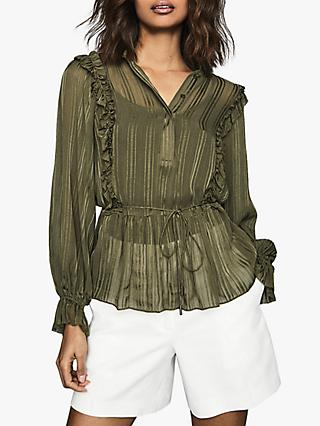 Reiss Alandra Self Stripe Blouse, Khaki