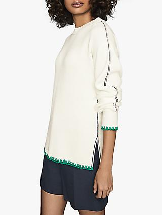 Reiss Ellena Tipped Cotton Jumper, Cream