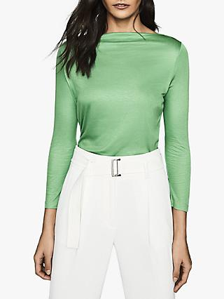 Reiss Marilyn Straight Neck Top, Green