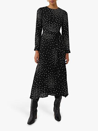 Warehouse Spray Spot Dress, Black
