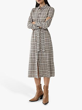 Warehouse Check Shirt Dress, Neutral
