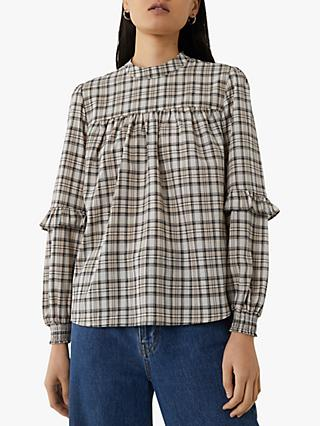 Warehouse Ruffle Sleeve Check Top, Neutral