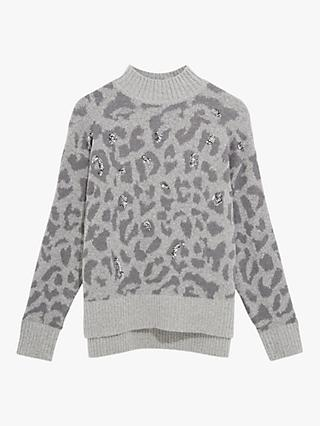 Oasis Leopard Print Sequin Jumper, Grey