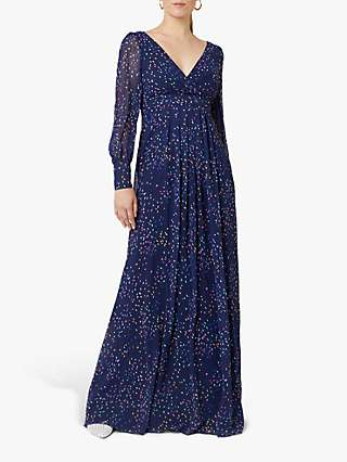Maids to Measure Suzannah Maxi Dress, Navy Confetti Print