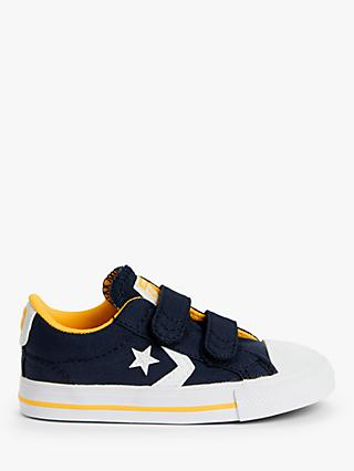 Converse Children's Varsity Star Player 2V Canvas Trainers, Navy/Yellow