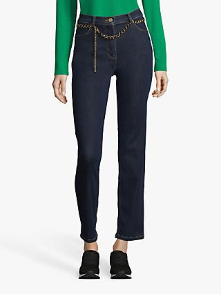 Betty Barclay Straight Leg Chain Belt Jeans, Dark Blue Denim